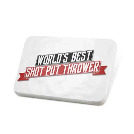 Porcelein Pin Worlds Best Shot Put Thrower Lapel Badge – (Best Shot Put Technique)
