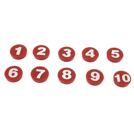 Aimant de Réfrigérateur Rond Motif Arabe Numéro Tableau Noir Frigo Magnétique Sticker 10 Pièces Rouge - image 2 de 2