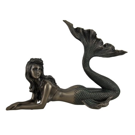 - Lounging Mermaid of Gazing Gulf Lustrous Bronze Finish Statue 11 Inch
