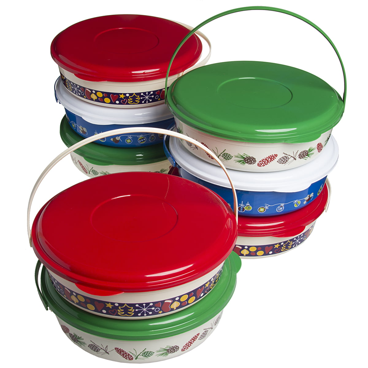 8 Pack Holiday Treat Carriers With Lids Handles Christmas Food