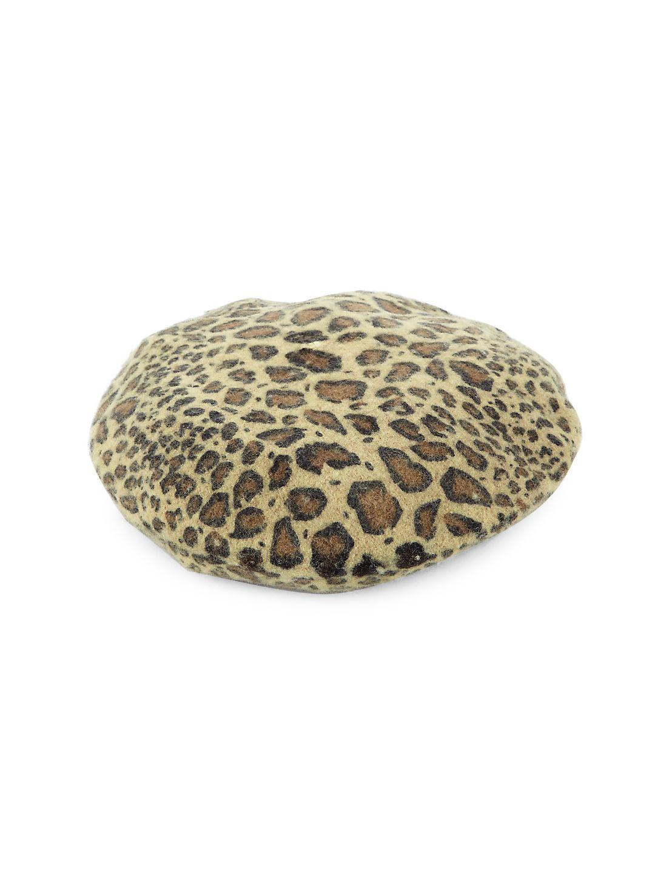 Leopard Wool-Blend Beret