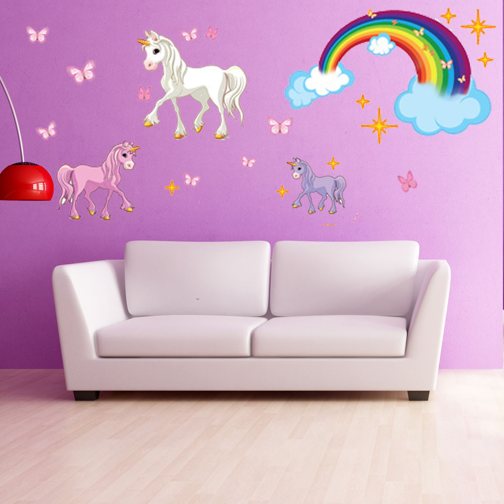 Unicorn Set Wall Decal With Rainbow - Girls Room Wall Decal, Sticker for Girls, Nursery Vinyl Wall Art, Kids Room Decor - DS 886 - 35in x 41in