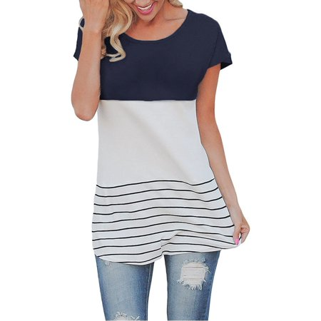Stroker Short Block - Back Lace Women Short Sleeve Color Block Striped T-shirts