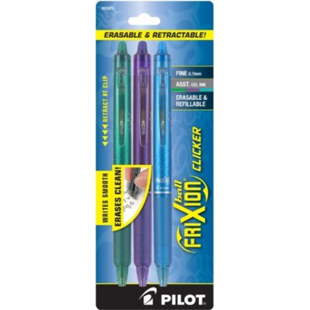 - Pilot FriXion Clicker Retractable Erasable Gel Pens Fine Point (.7) Green/Purple/Turquoise 3-pk; Make Mistakes Disappear, No Need For White Out with America's #1 Selling Pen Brand