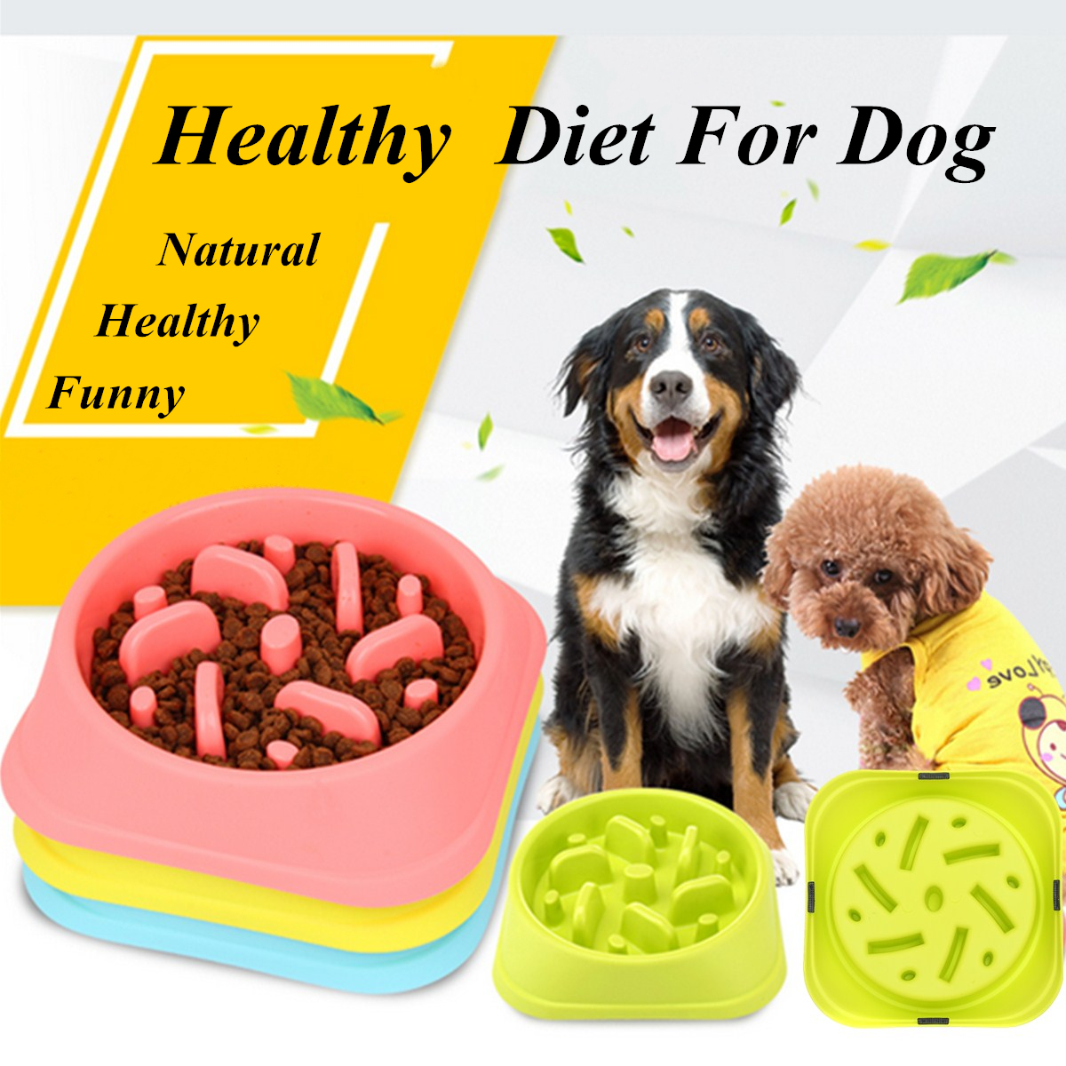 Pets Slow Eating Pet Bowl Dog Cat Interactive Maze Bloat Stop Dishes Feeder Cute Healthy Bowl