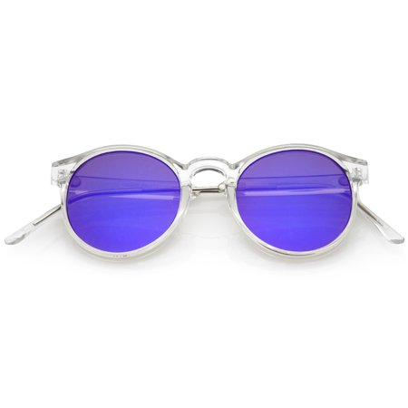 405de1a46f sunglassLA - sunglassLA - Clear Frame Metal Temple Color Mirror Flat Lens  P3 Round Sunglasses - 49mm - Walmart.com