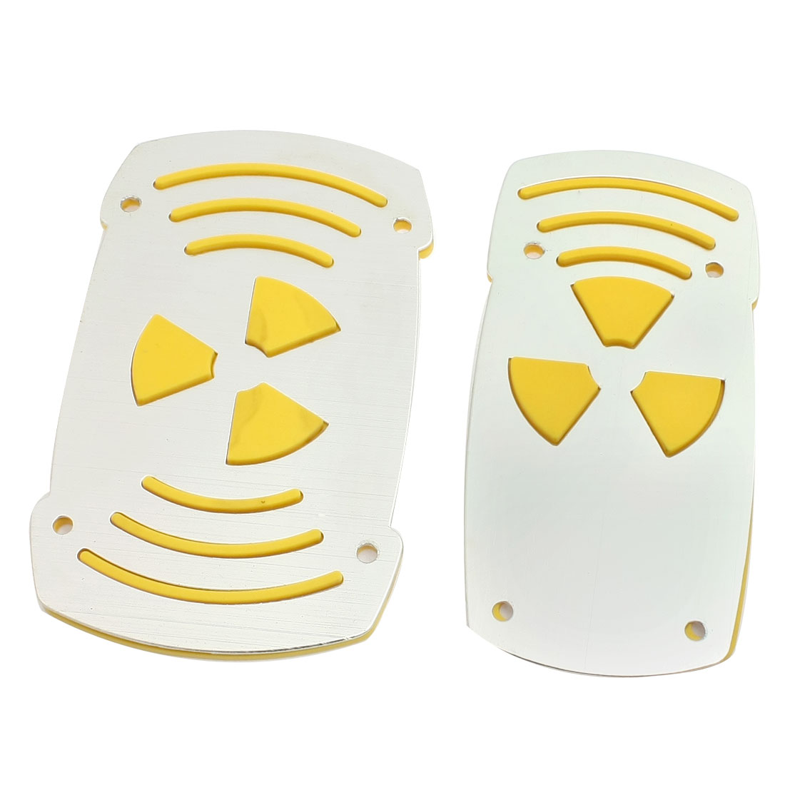 Car Automatic Yellow Silver Tone Plastic Antislip Gas Brake Pedal Cover Pair