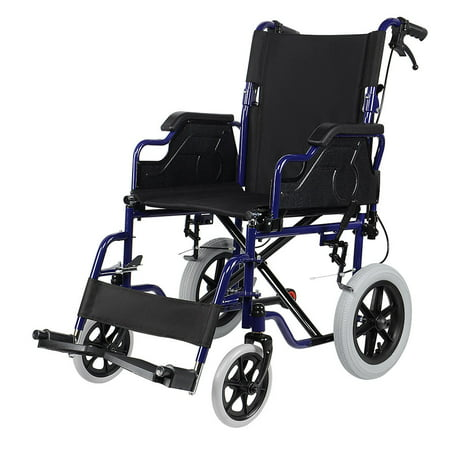 Lightweight Transport Wheelchair with Hand Brakes and Footrests, Foldable With 12 inch Wheels Support Weight Up to 220 lbs - image 1 of 9