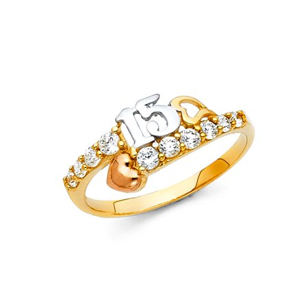 14k Tri Colored Italian Gold 8 mm Classic Number 15th Birthday Quinceanera 15 Anos with Round Cubic Zirconia Ring Size 5 Available All Sizes