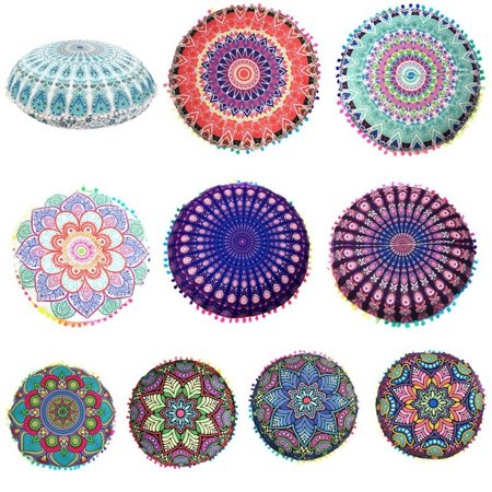 Large Round Mandala Meditation Floor Pillows Indian Tapestry ...
