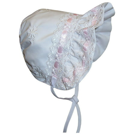 n'ice caps baby girls lacy bonnet with flowers embroidery (infant medium (6-12 months), white/pink) (Beautiful Baby Bonnet)