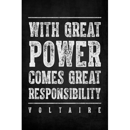 With Great Power Comes Great Responsibility  Voltaire Quote   Motivational Poster Print