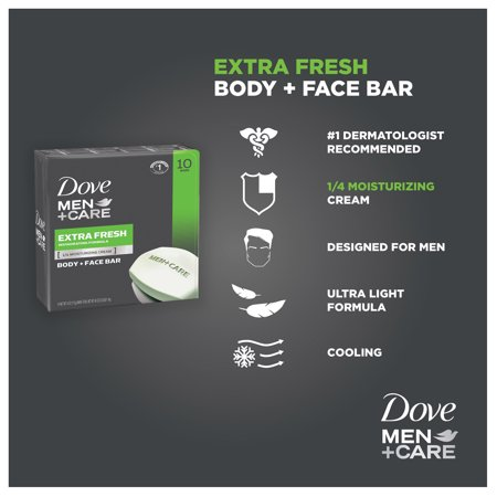 Best Dove Men+Care Extra Fresh Body and Face Bar, 4 oz, 10 Bar deal