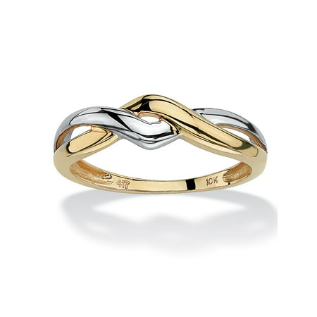 10k Yellow Gold Two-Tone Twisted Crossover Ring Holiday Gold Banded Fine China