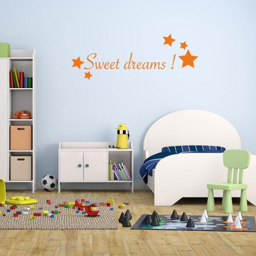 Sweet Dreams Vinyl Mural Wall Decal  Quotes and Sayings Light blue 16in x 6in