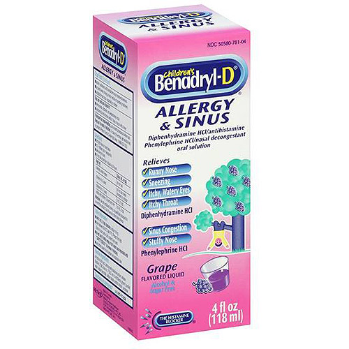 Benadryl-D Grape flavored Liquid Allergy & Sinus 4 fl oz