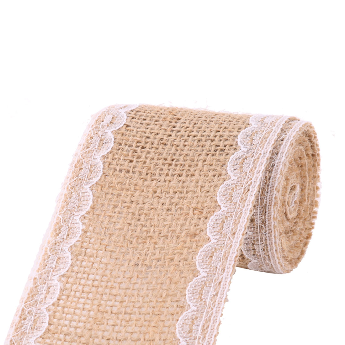 Unique Bargains Christmas Burlap DIY Sewing Belt Craft Gift Wrapping Ribbon Roll White 2.2 Yards