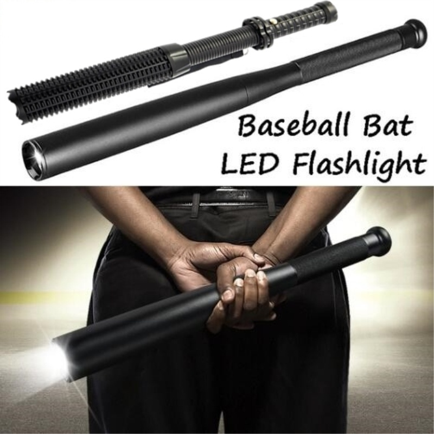 Extendable Baseball Bat Torch Security LED Flashlight Protection Emergency