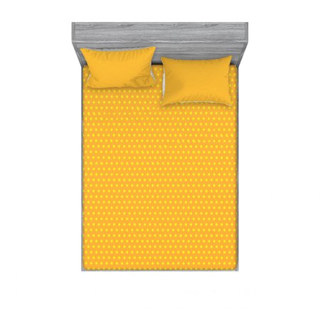 Pop Art Bedding Set with Sheet & Covers, Vintage Retro 50s 60s Image with Polka Dots Pattern Design Print, Printed Bedroom Decor 2 Shams, 4 Sizes, Marigold and Yellow, by Ambesonne Dot Wall Pops Set