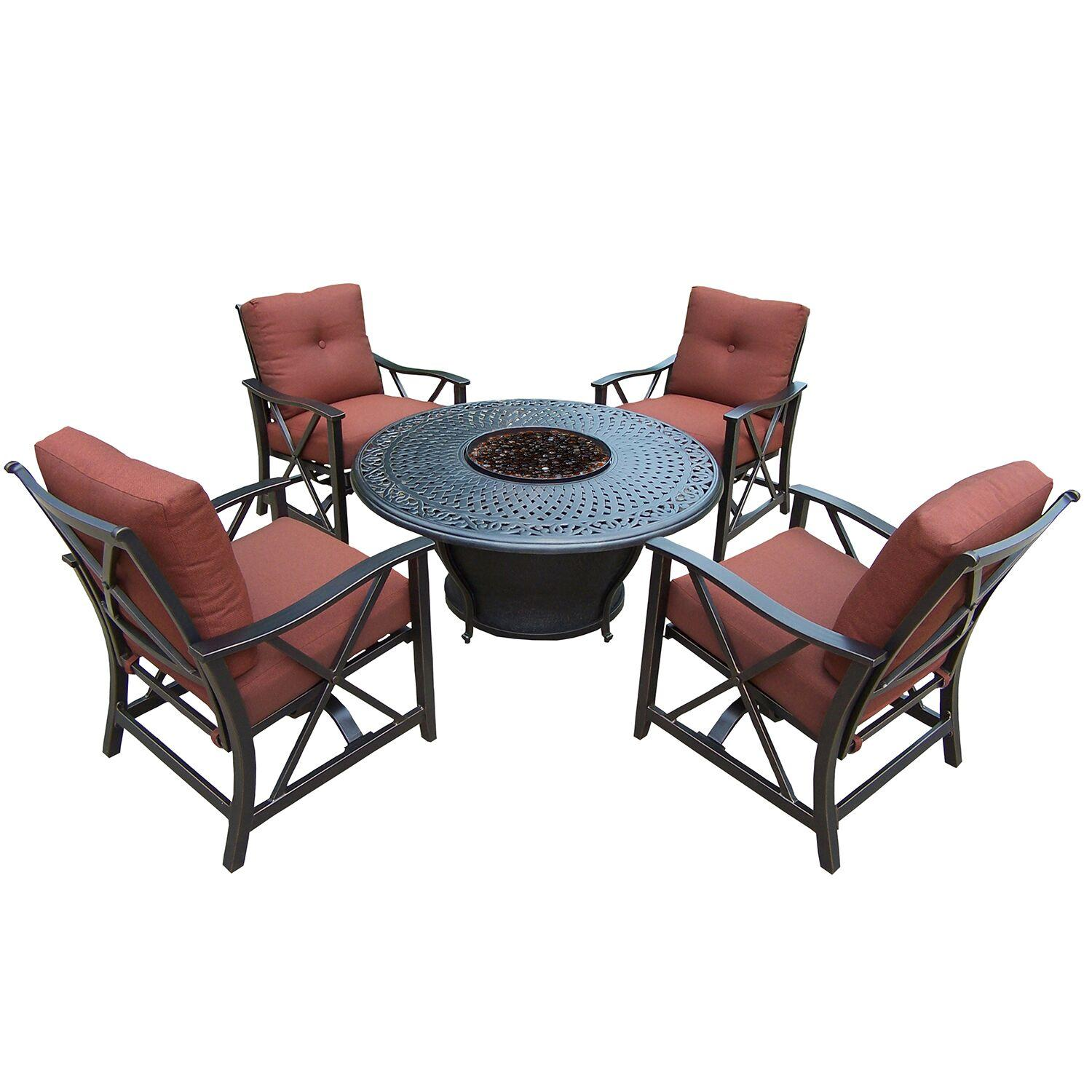 5-Piece Bronze Finish Aluminum Outdoor Furniture Patio Fire Pit Deep Seating Chat Set - Red Cushions
