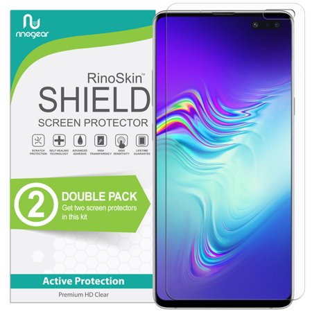 Id Screen - (2-Pack) RinoGear for Galaxy S10 5G Screen Protector (NOT Fit for Non-5G Galaxy S10 & S10 Plus version) (Fingerprint ID Compatible) Screen Protector for Galaxy S10 5G Accessory Clear Film