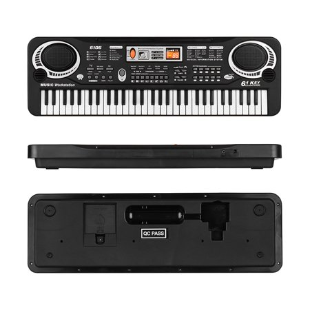 61 Keys Electronic Digital Piano Keyboard with Dual Speakers Microphone USB/Battery Powered + Tremolo Harmonica 16 Holes Kids Musical Instrument Educational Toy Wooden Cover Colorful Free Reed Wind In - image 3 of 7