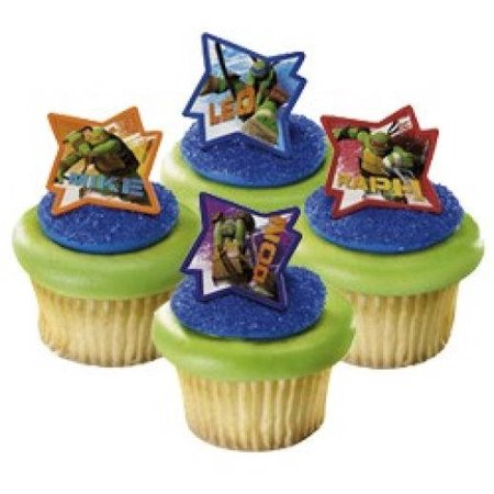 24 Teenage Ninja Turtles Cupcake Cake Rings Birthday Party Favors Toppers - Ninja Turtle Favors
