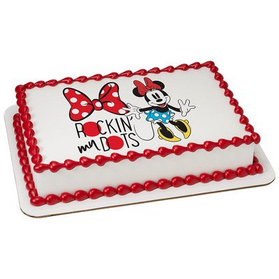 Minnie Mouse Rockin My Dots Edible Icing Image Cake Cupcake Party Topper For 6
