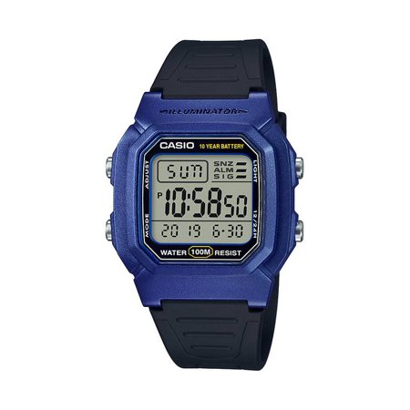 Men's Dual Time Digital Watch, Blue/Black - W-800HM-2AVCF