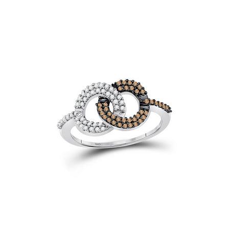 FB Jewels 10kt White Gold Womens Round Brown Diamond Linked Circles Ring 1/3 Cttw Gemstone Circle Link