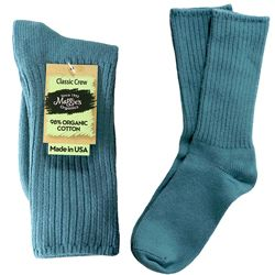 Maggie's Organics - Organic Cotton Crew Socks,  Denim Blue Sizes 9-11, 1 ea