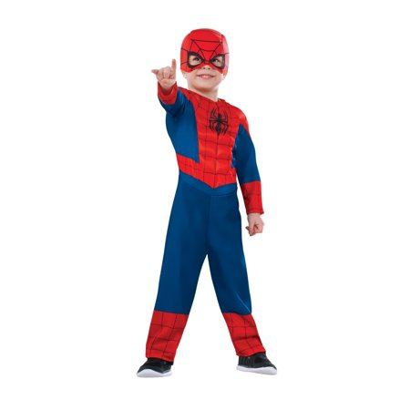 Halloween Marvel Super Hero Adventures Deluxe Ultimate Spider Man Infant/Toddler Costume (Toddler Spiderman Costume 3t)