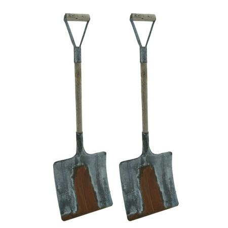 - Rusty Galvanized Finish Set of 2 Decorative Snow Shovels 25 inch