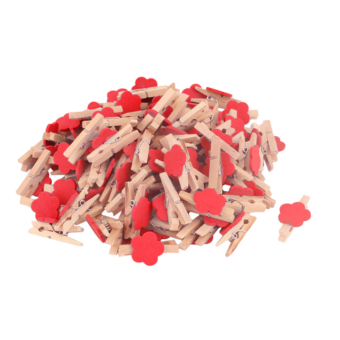 Card Photo Clothes Flower Shape Spring Crafts  Wooden Clip Red 100pcs