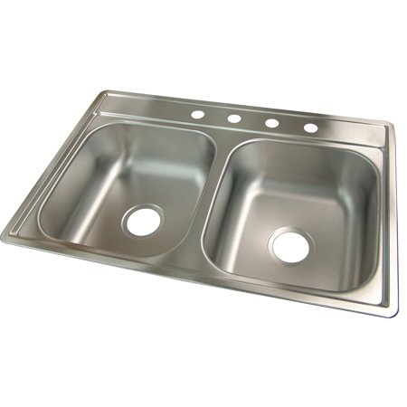"""Kindred FDS704NB 33"""" X 22"""" X 7"""" Satin Stainless Steel 4 Hole Sink"""
