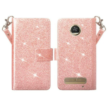 Moto Z2 Force Case, Motorola Moto Z2 Force Case Glitter Faux Leather Flip Credit Card Holder Wrist Strap Protective Purse Wallet Case Clutch for Moto Z2 Force Case - Rose Gold
