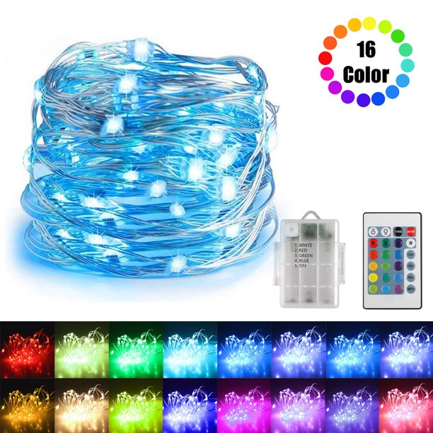 16ft Fairy String Lights Battery Powered Waterproof 16 Colors Decorative Twinkle Fairy Lights With Remote Perfect For Weddings Party Bedroom Walmart Com Walmart Com