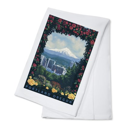 Portland, Oregon - Roses and City - Lantern Press Artwork (100% Cotton Kitchen