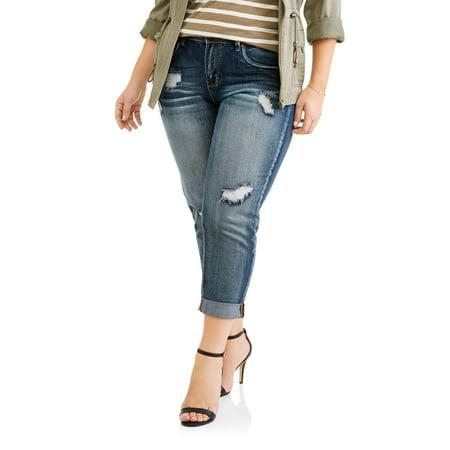 0f149e0e1 Dollhouse - Juniors' Plus Cuffed Medium Wash With Tint Cropped Boyfriend  Jeans With Destruction - Walmart.com