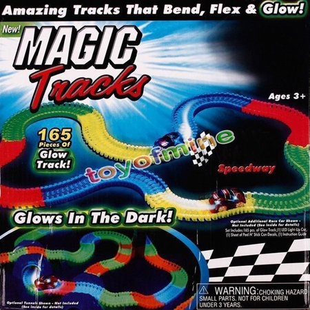 magic race car track set for kid with11 feet of glow in dark flexible track