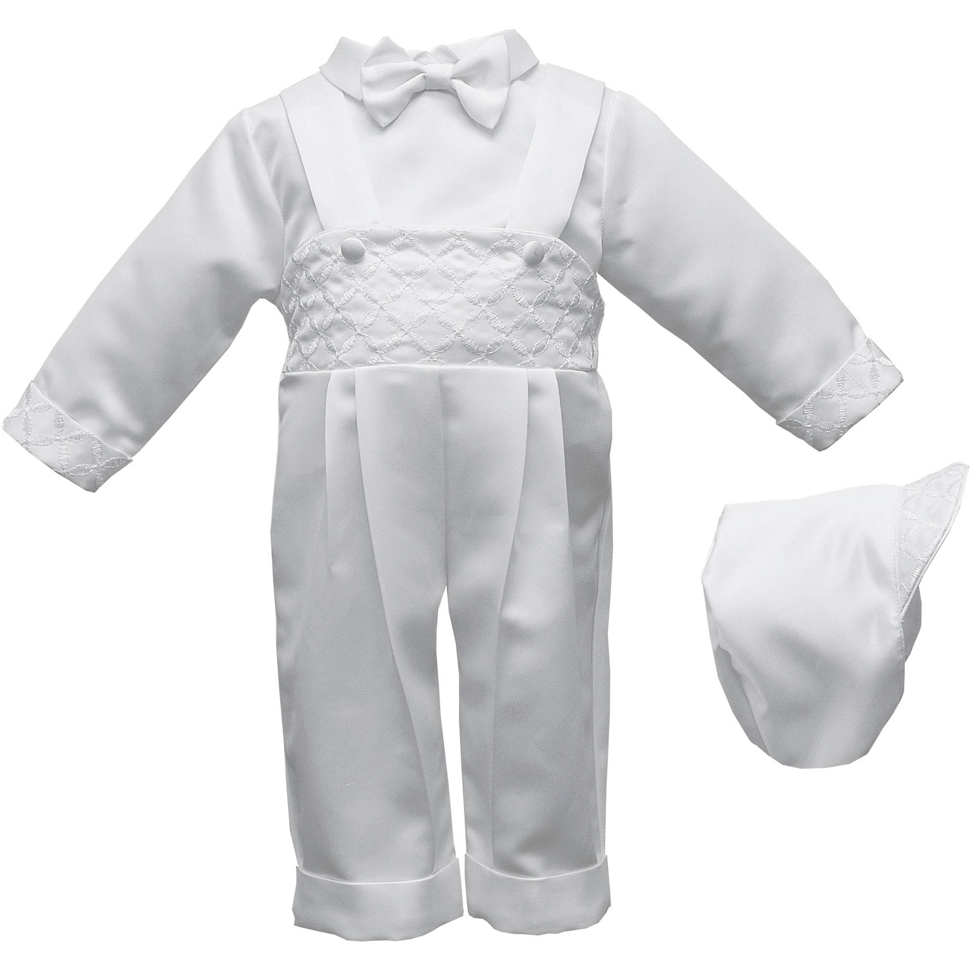 Christening Baptism Newborn Baby Special Occasion Three Piece Satin Long Pant Outfit Set With Embroidered Front