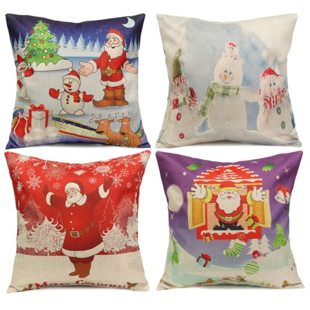 Meigar Meigar Christmas Snowman Couch Cushion Pillow Covers 18x18 Square Zippered Cotton Linen Standard Decorative Waist Throw Pillow Covers Slip Case Protector for Sofa Chair Seat