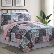 Sylvia Patchwork Printed Reversible 2-Piece Twin/Twin-XL Quilt Set