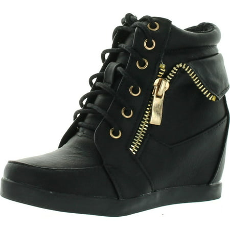 - Lucky Top Girls Peter30 Kids Fashion Leatherette Lace-up High Top Wedge Sneaker Bootie