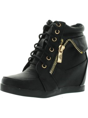 a0ee03d1c69 Product Image Lucky Top Girls Peter30 Kids Fashion Leatherette Lace-up High  Top Wedge Sneaker Bootie