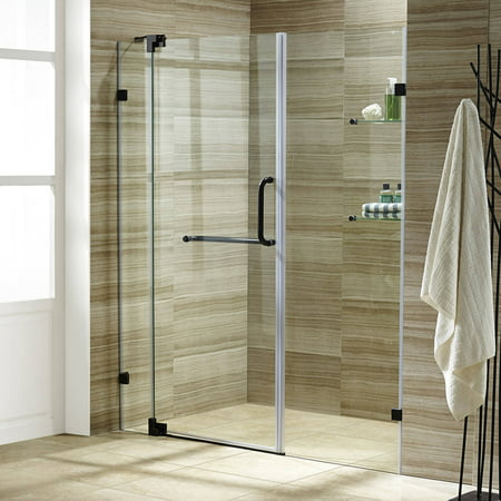 "VIGO Pirouette 60"" Frameless Shower Door, 3/8"" Clear Glass/Antique Rubbed Bronze Hardware"