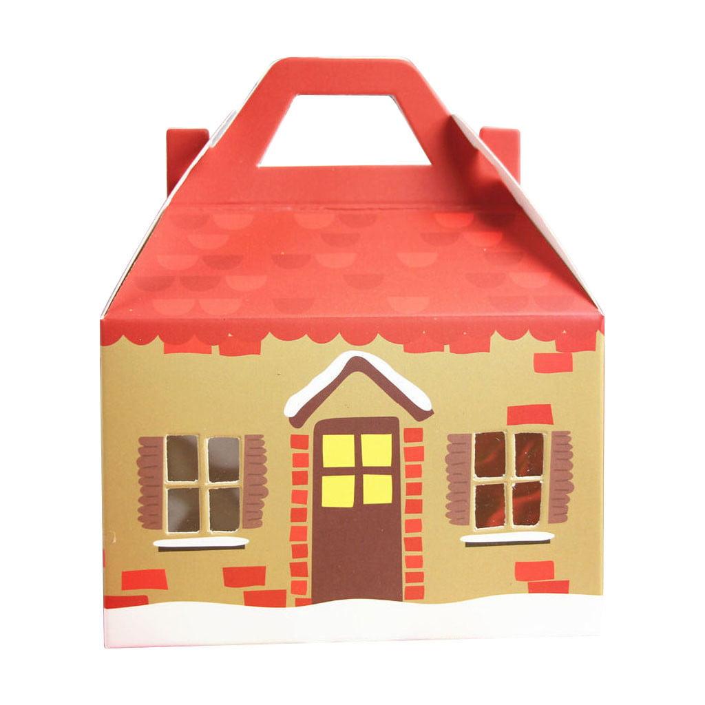 5PCS Christmas Gift Bag Paper Bag Packaging Kraft Paper Apple Tower Paper Box