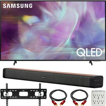 Samsung QN50Q60AAFXZA 50 Inch QLED 4K UHD Smart TV 2021 Bundle with Deco Home 60W 2.0 Channel Soundbar, 37-100 inch TV Wall Mount Bracket Bundle and 6-Outlet Surge Adapter