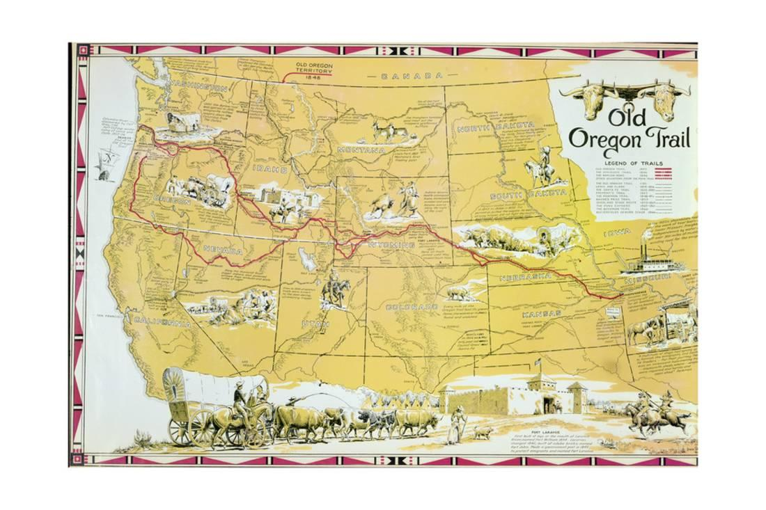 picture relating to Oregon Trail Map Printable called Map of the Previous Oregon Path Print Wall Artwork Via American Higher education -