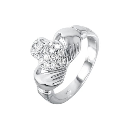 Pave Set Clear Cubic Zirconia Claddagh Ring Rhodium Plated Sterling Silver Size 8